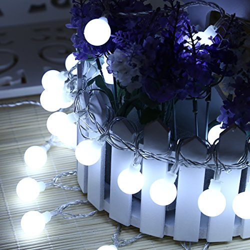 Excelvan 10M33FT 100 LEDs Globe Ball Fairy String Light Built-in 8 Modes Memory Indoor Outdoor Decoration for Christmas Festival Holiday HG-C012Cool White