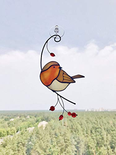 Robin Bird Suncather Stained Glass Bird Lover Friend mom Father Partner Housewarming Custom Gift Window hangings