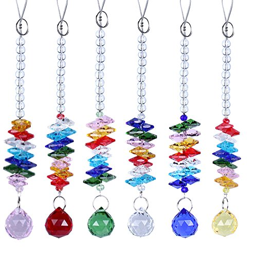 H&ampd Colorful Chandelier Crystals Chakra Suncatcher Ball Prisms Pendant Hanging Rainbow Octogon Fengshui Rearview