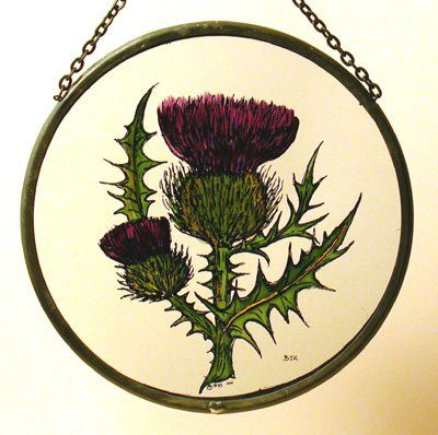 Decorative Hand Painted Stained Glass Window Sun Catcherroundel In A Scottish Thistle Design