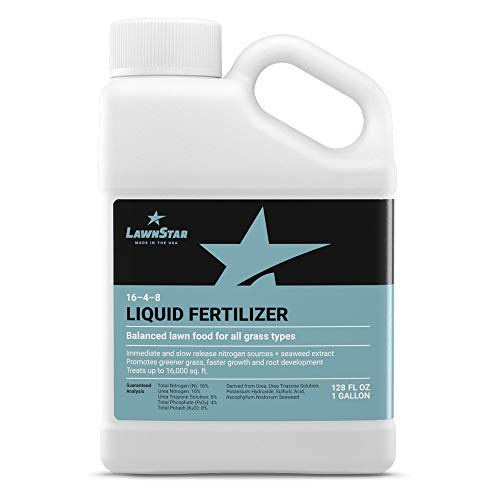 LawnStar 16-4-8 NPK Fertilizer 1 Gallon - Makes Grass Grow Greener Faster - Liquid Lawn Food with Slow Fast Release Nitrogen - Ideal Spring Summer Spray for All Grass Types - American Made
