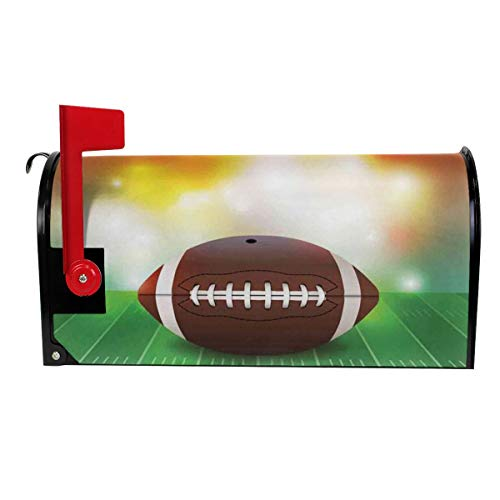 JinSPef Mailbox Covers American Football Ball On Grass Sports Magnetic Mailbox Cover Wraps Post Letter Box Cover Garden Decor Standard Size 21x18 in