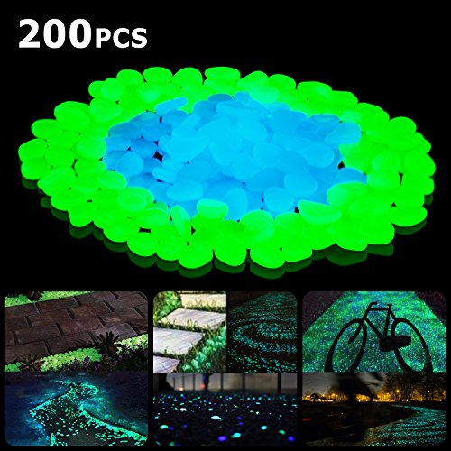 SUNNEST Glow in The Dark Pebbles Glow Decorative Stones Rocks Luminous Pebbles for Outdoor Decor Garden Lawn Yard Aquarium Walkway Fish Tank Pathway Driveway200PCS Blue&Green