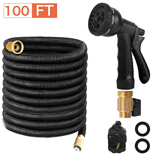 Page Hodge Expandable Garden Hose 100 FT Flexible Water Hose Triple Layered Latex Core 8 Patterns Spray Nozzle for Home Heavy Duty Commercial Use100 Feet
