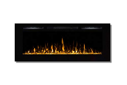 Moda Flame 50 Inch Cynergy Crystal Stone Built-In Wall Mounted Electric Fireplace