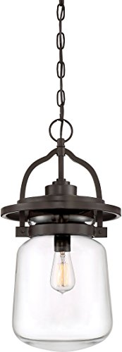 Quoizel LLE1911WT LaSalle Glass Jar Outdoor Pendant Lighting 1-Light 150 Watts Western Bronze 22 H x 11 W
