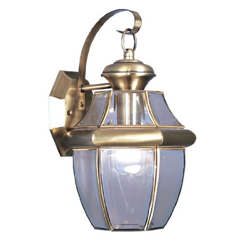 Livex Lighting 2151-01 Monterey 1 Light Outdoor Antique Brass Finish Solid Brass Wall Lantern  With Clear Beveled