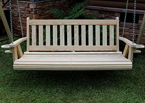 MISSION Amish Heavy Duty 800 Lb 5ft Porch Swing With Cupholders - Cedar Stain - Made in USA