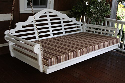 6 Foot Outdoor Swing Bed Mattress CUSHION ONLY 4 INCHES THICK Sundown Material- Tan Swirl