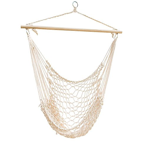 Tenive Hanging Rope Indoor Outdoor Patio Lawn Garden Yard Hammock Chair Swing Seat White