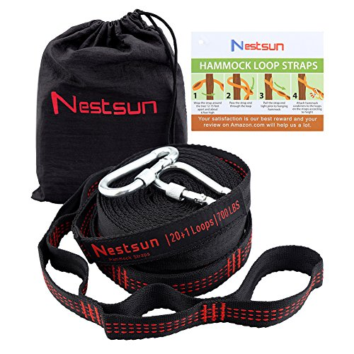 Nestsun Hammock Straps Hammock Tree Straps Set Hammock Accessories Outdoor Gear Adjustable Suspension System 1400LB Heavy Duty with 42 Loops 2 Carabiners for Camping Hiking and outdoor activies