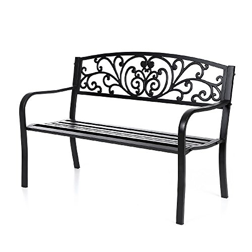 Ikayaa 50in Cast Iron Outdoor Patio Park Garden Bench Furniture Metal Deck Porch Backyard Lawn Seat Chair