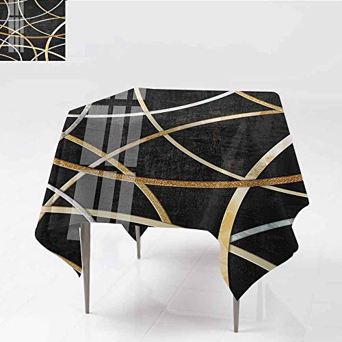 ZWARRT Wedding Banquet Table Black semicircular Squares are Stacked TogetherW65 x L65 Table Cover for Outdoor and Indoor
