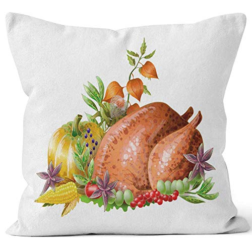 Nine City Thanksgiving Fried Turkey with Vegetables and Herbs Isolated Vector Throw Pillow CoverHD Printing for Sofa Couch Car Bedroom Living Room Decor36 W by 36 L