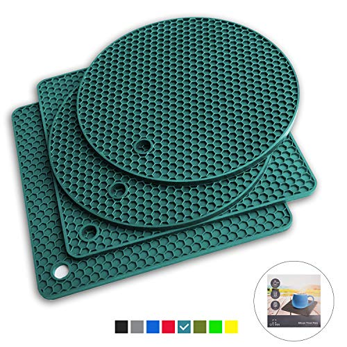 Qs INN Caribbean Silicone Trivet Mats  Hot Pot Holders  Drying Mat Our potholders Kitchen Tool is Heat Resistant to 440°F Non-slip durable flexible easy to wash and Contains 4 pcs