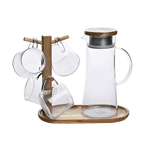 Mug Cup HolderCup Rack WoodenCups Drainer Holder and Serving Tray Mug Rack TreeMug HolderMug Hook for Drinking Kettle Multi-FunctionNatural WoodThe Kettle and Cup are not Included