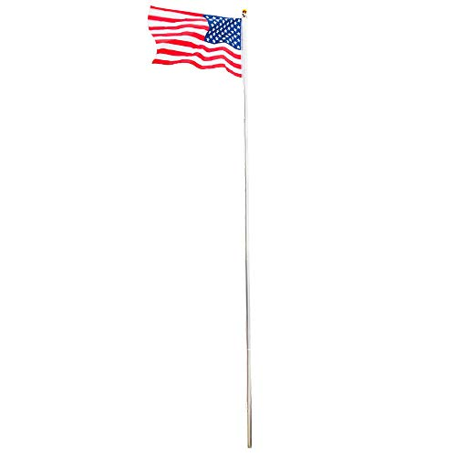 JPT Flagpole Kit Aluminum Halyard 25Ft Sectional 1PC US American Flag Durable Garden
