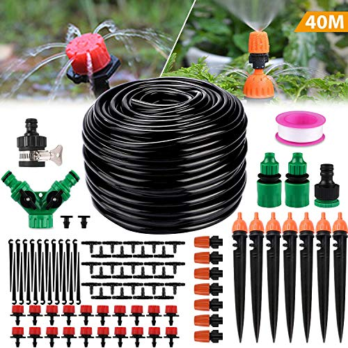 Philonext Drip Irrigation130ft40M Garden Irrigation System Adjustable Automatic Micro Irrigation Kits14 Blank Distribution Tubing Hose Suit for Garden Greenhouse Flower BedPatioLawn 40M