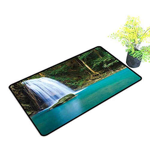 Diycon Front Door Mat Large Outdoor Indoor Waterfall Stream of a Secret Waterfall in The Forest Nature Like Heaven Fresh W16 xL20 Easy to Clean Carpet Turquoise Green Brown