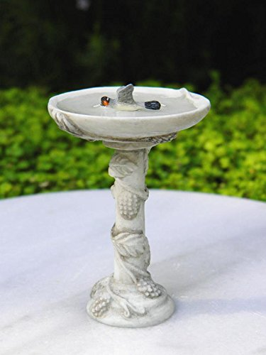 My Fairy Gardens Miniature Furniture - Gray Resin Bird Bath w Bird - Mini Dollhouse Supply Expressions