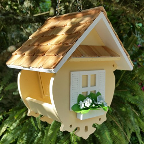 Little Yellow Cottage Wren Bird Feeder is a Peaceful Yellow Wood Birdfeeder with a Wood Shingled Roof and Pure White Trim