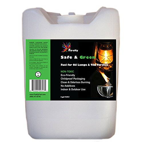 Bulk 5-Gallon Firefly Safe Green Fuel - Odorless and Smokeless Burning - Use in Tiki Torches Oil Lamps Lanterns