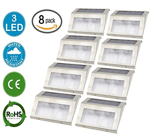 upgraded 3 Led Hkyh Newest 8 Pack 3 Led Solar Bright Step Light Stairs Pathway Deck Garden Lamps Stainless Steel
