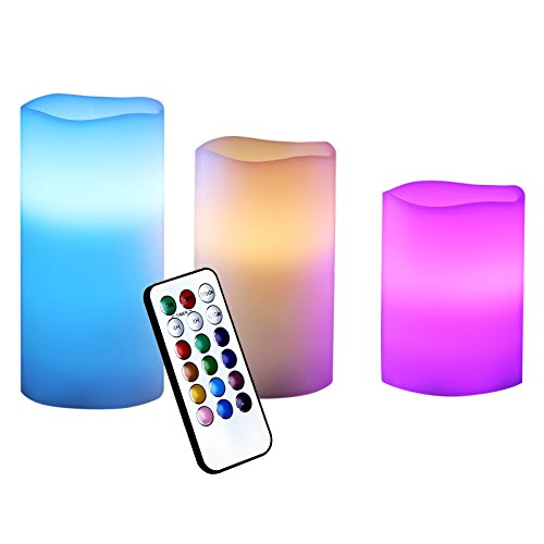 Songmics Flameless Candles With Remote Control Battery-powered Led Candles Waterproof Set Of 3 Uflc75c