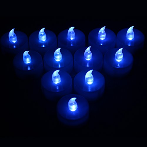 Tbw Flameless Tea Lights Votive Candles - Blue Flickering Tealight Led Candles Battery Powered Led Lights