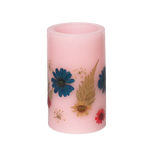 GiveU 3x5 Inch Red Flower Flameless Led Pillar Candle with Timerwork with 2 C Batteriesembossed Colorful Flower