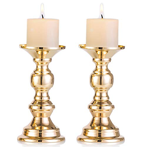 Nuptio Set of 2 Gold Candlestick Metal Pillar Candle Holders Wedding Centerpieces Candlestick Holders for 2 inches Candles Stand Decoration Ideal for Weddings Special Events Parties