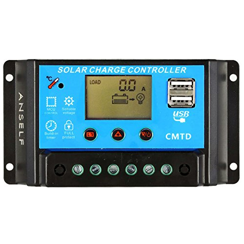 LCD Solar Charge Controller with Current Display Function Auto Regulator for Solar Panel Battery Lamp Overload Protection 10A 12V24V