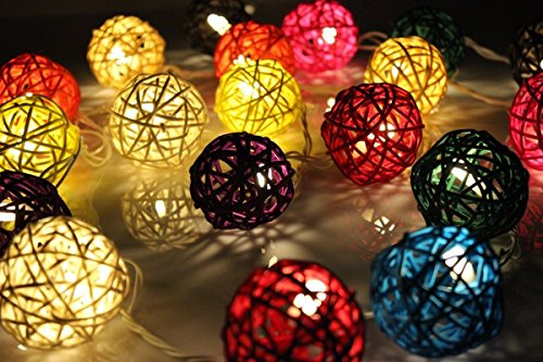 Nascco 2m 20 Led Rattan Ball Christmas Party Lights Battery Operated Outdoor String Lights for Patio Garden Lawn