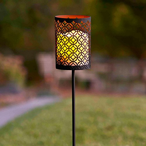 Moroccan Battery Operated Flameless Led Candle Lantern Garden Stake Light