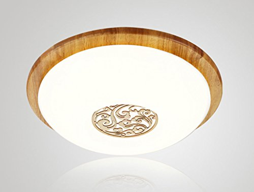 Chinese wood bedroom lamp led round ceiling lamp den balcony aisle minimalist decorative ceiling lights Size  White Light
