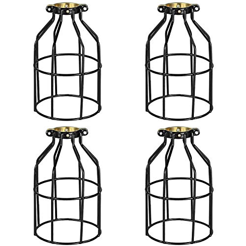 Simple Deluxe HILAMPCAGEX4 4-Pack Adjustable Industrial Clamp On Metal Bulb Guard Cage for Pendant Vintage Lamp Holder and Ceiling Fan Light Black
