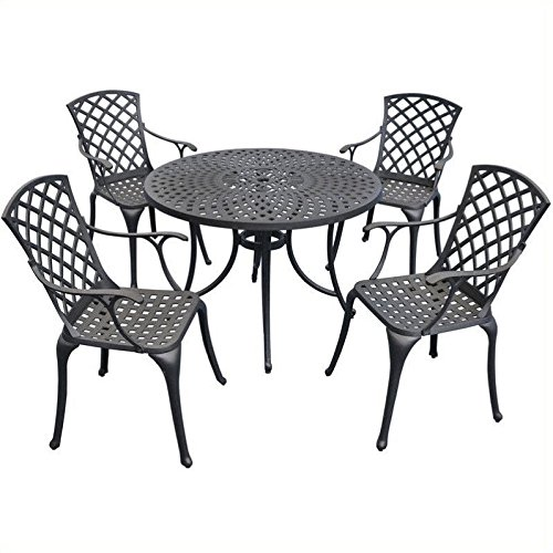 Crosley Furniture Sedona 42-inch Five Piece Cast Aluminum Outdoor Dining Set With High Back Arm Chairs In Black