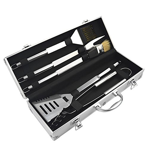 KALREDE 5-Piece Stainless Steel Outdoor Barbecue Grill Tool Set -Includes Aluminum Storage Case for Barbecue Grill Utensils