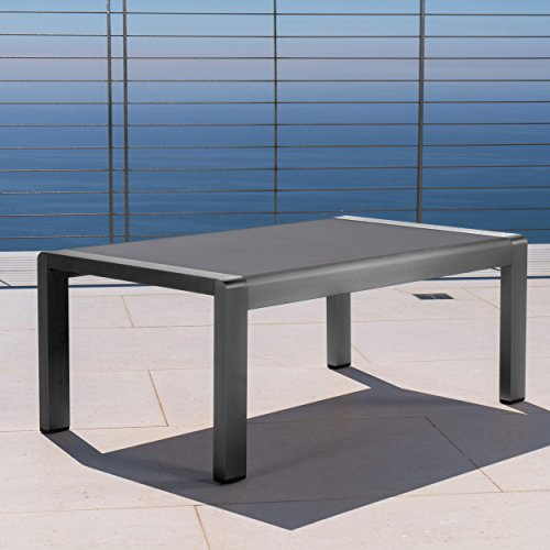 Crested Bay Patio Furniture  Outdoor Grey Aluminum Coffee Table with Tempered Glass Table Top
