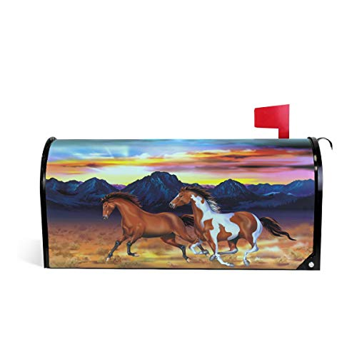 ALAZA Running Horses Magnetic Mailbox Cover Oversized-255 x208