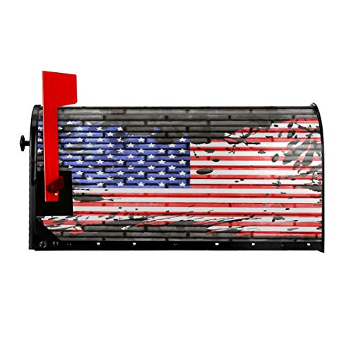 YUNIKER American Flag Brick Wall Mailbox Cover Magnetic Mailbox Wraps Fade-Resistant Post Letter Box Cover Durable MailWraps Garden Home Christmas Decorations 21x18 in