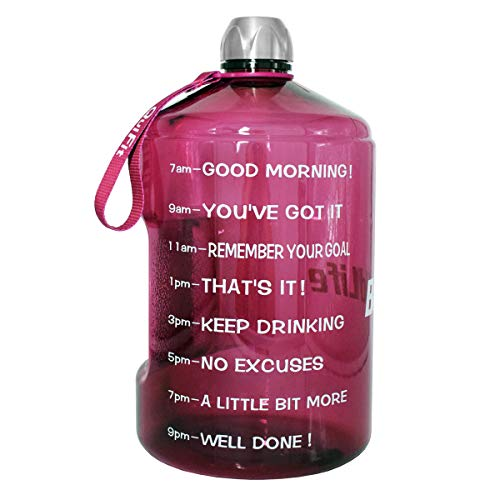 QuiFit 1 Gallon Water Bottle with Motivational Time Marker 1287343 oz Large Capacity BPA Free Reusable Sports Water Jug with Handle to Drink More Water1 GallonBright Purple