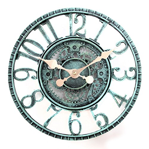 Lilys Home Hanging Wall Clock Steampunk Gear and Cog Design with a Pewter Finish Ideal for Indoor or Outdoor Use Poly-Resin 12 Inches Diameter