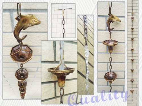 Brass Rain Chain  Brass Rain Cups With A Dolphin - 86&quot Inches H