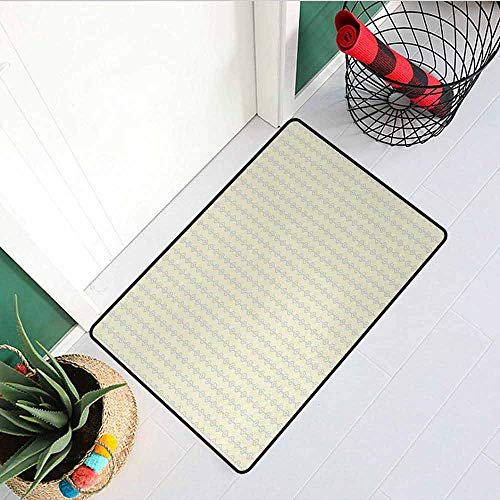 RelaxBear Retro Inlet Outdoor Door mat Vertical Geometric Circular Pattern with Dots Continuous Chain Design Catch dust Snow and mud W295 x L394 Inch Light Lavander and Cream