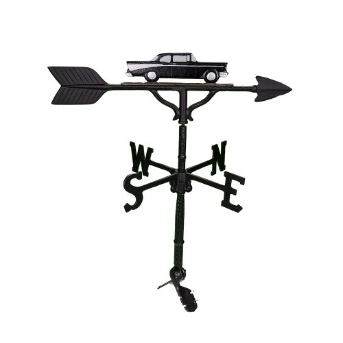 Montague Metal Products 32-Inch Weathervane with Black and White Classic Car Ornament