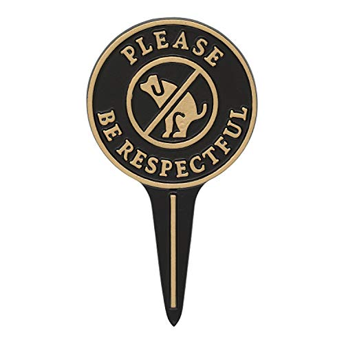 Whitehall Products 10595 Please Be Respectful Courtesy Lawn Stake no Poop Dog Sign 95 x 525 x 025 BlackGold