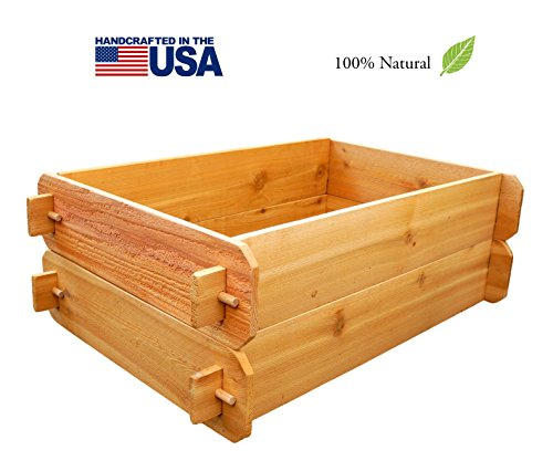 Timberlane Gardens Raised Bed Kit Double Deep Two 2x3 Western Red Cedar with Mortise and Tenon Joinery 2 Feet x 3 Feet
