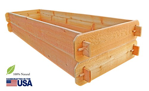 Timberlane Gardens Raised Bed Kit Double Deep Two 2x6 Western Red Cedar with Mortise and Tenon Joinery 2 Feet x 6 Feet